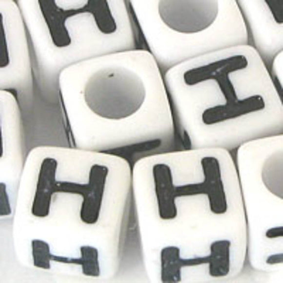 Plas 7mm cube black/white letter H 20pcs