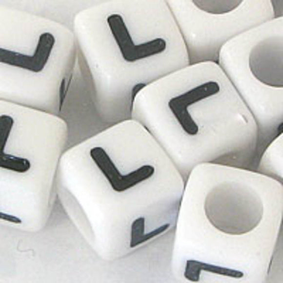 Plas 7mm cube black/white letter L 20pcs