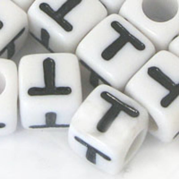 Plas 7mm cube black/white letter T 20pcs