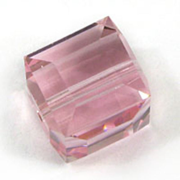 Swarovski 8mm 5601 cube lgt rose 2p