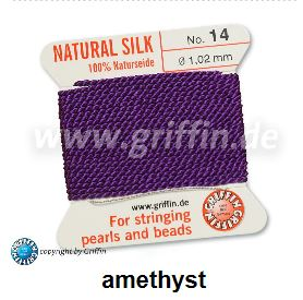 silk thread amethyst no6 0.70mm 2metres