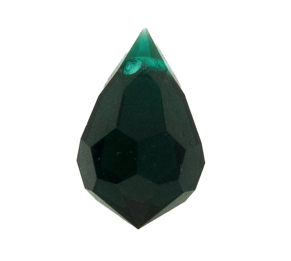 Cz 6x10mm faceted drop trns emerald 4p