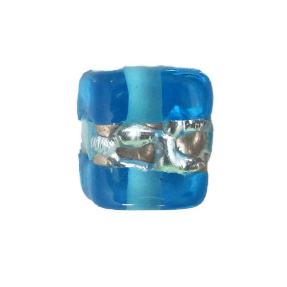 Cz h/made 8x8mm cube silver skyblue 2pcs