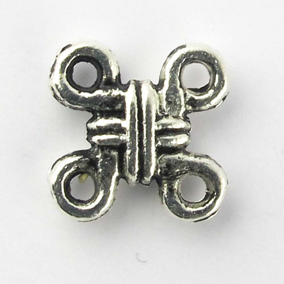 Metal 10x10mm flat sq knot a/silver 18pc