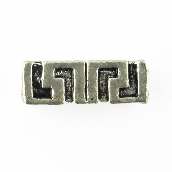 Metal 15x5mm square rectange a/silver 25