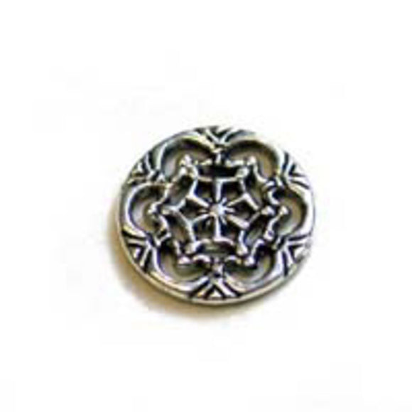 Metal 18mm ornate coin a/silver 24pcs