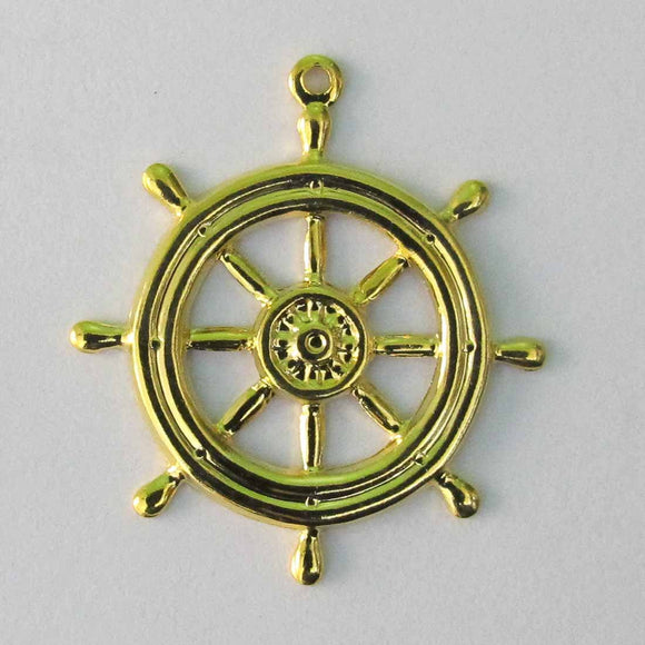 Metal casting 27mm ships wheel gold 12pc