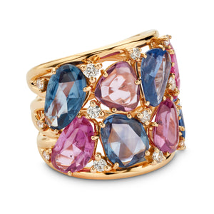 Multi-Color Sapphire and Diamond Ring