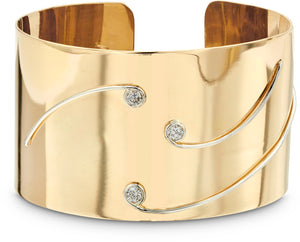 Gold and Platinum Diamond Cuff Bangle
