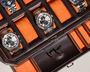 WOLF 1834 WINDSOR 10 PIECE WATCH BOX WITH DRAWER - BROWN/ORANGE