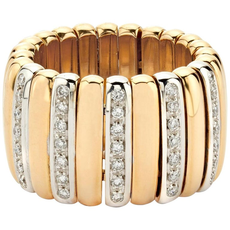 Yellow Gold and Diamond Flexible Ribbed Ring