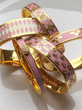 Load image into Gallery viewer, Halcyon Days Parterre Pink Cream & Gold Bangle