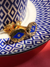 Load image into Gallery viewer, Halcyon Days Sparkle Cobalt & Gold Cufflinks