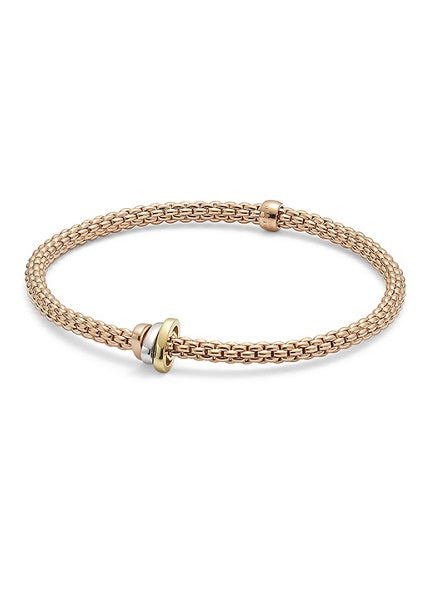 FOPE PRIMA FLEX'IT TRI-COLORED BRACELET - ROSE GOLD
