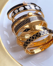 Load image into Gallery viewer, Halcyon Days Parterre Sparkle Black Cream & Gold Bangle