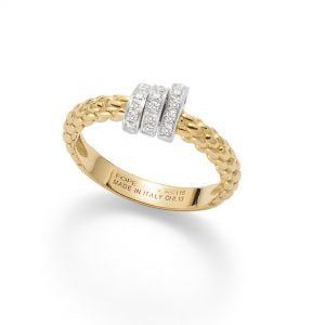 FOPE PRIMA DIAMOND PAVE RING - YELLOW GOLD