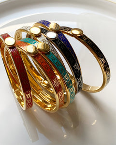 Halcyon Days Skinny Parterre Red & Gold Bangle