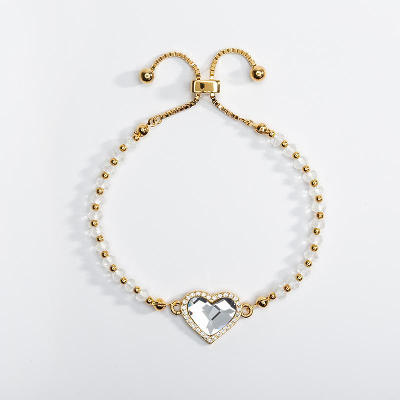 Halcyon Days White Heart Pave Gold Beaded Friendship Bracelet