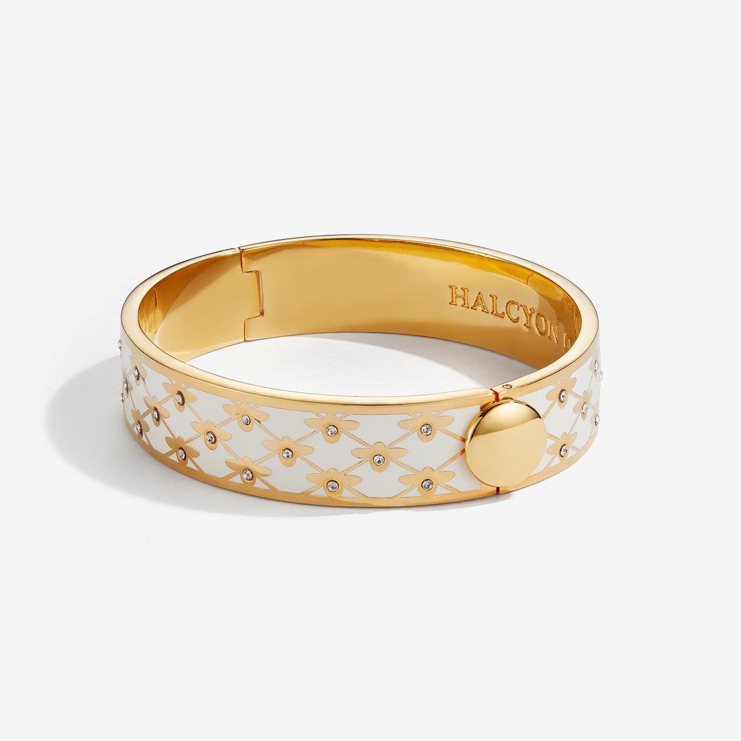 Halcyon Days Bee Sparkle Trellis Cream & Gold Bangle