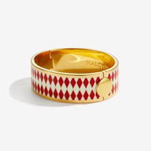 Load image into Gallery viewer, Halcyon Days Parterre Red Cream & Gold Bangle