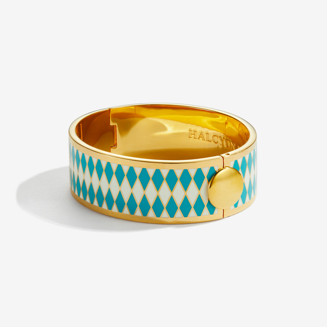 Halcyon Days Parterre Turquoise Cream & Gold Bangle