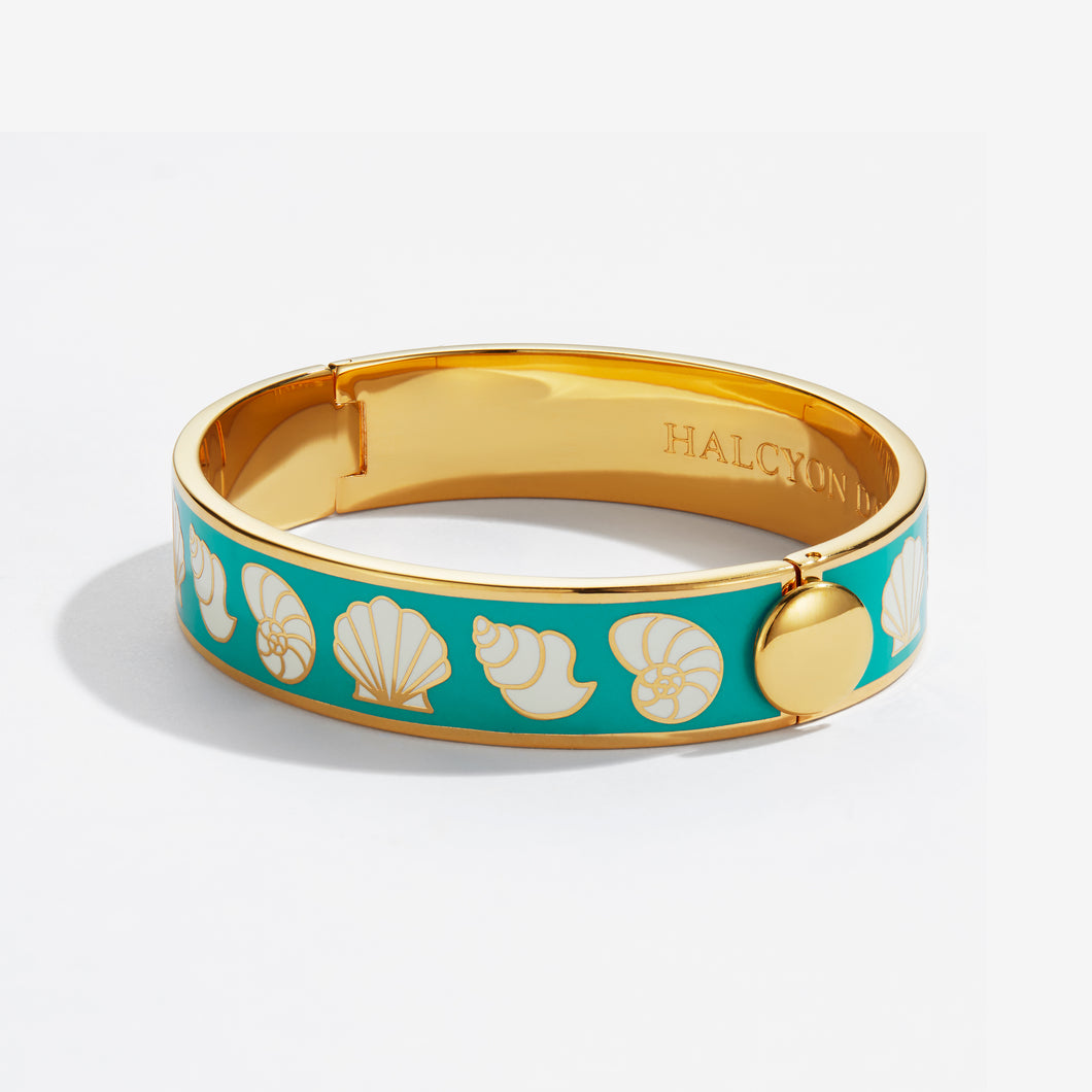Halcyon Days Shells Turquoise Cream & Gold Bangle