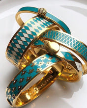 Load image into Gallery viewer, Halcyon Days Parterre Turquoise Cream & Gold Bangle