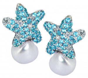 Aquamarine Starfish and Pearl Earrings in 14kt White Gold