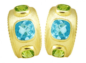 FLORENTINE TEXTURED PERIDOT AND BLUE TOPAZ EARRINGS