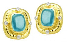 Load image into Gallery viewer, RAYMOND MAZZA AQUAMARINE CABOCHON EARRINGS WITH DIAMONDS