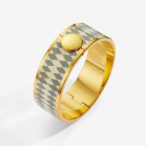 Halcyon Days Parterre Gray Cream & Gold Bangle