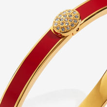 Load image into Gallery viewer, Halcyon Days Skinny Pave Button Red & Gold Bangle