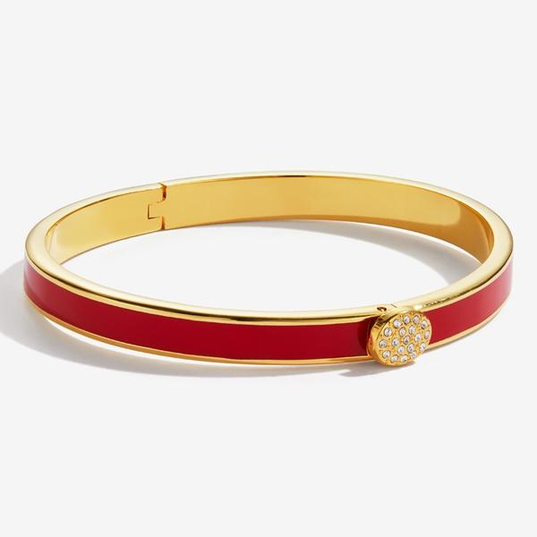 Halcyon Days Skinny Pave Button Red & Gold Bangle