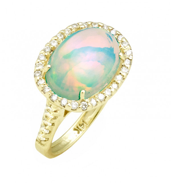 RAYMOND MAZZA ETHIOPIAN OPAL RING WITH DIAMOND HALO