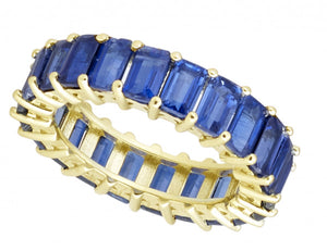 RAYMOND MAZZA ROYAL BLUE KYANITE EMERALD CUT ETERNITY BAND