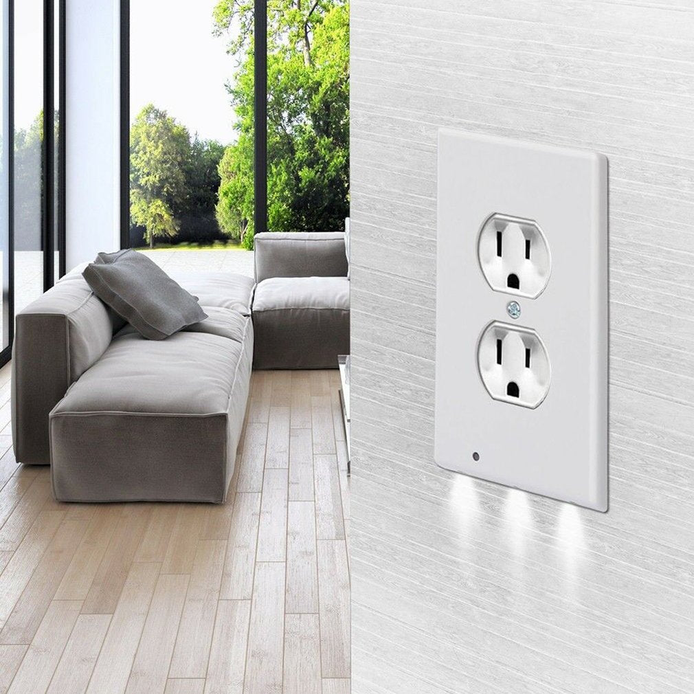 Light Sensor Outlet Wall Plate With Led Night
