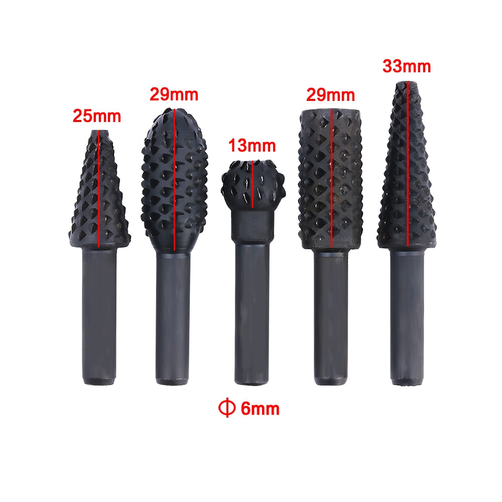 "Onnfang 1/4"" Shank Rotary Craft Files 5 Pcs High Quality - ProoTools"
