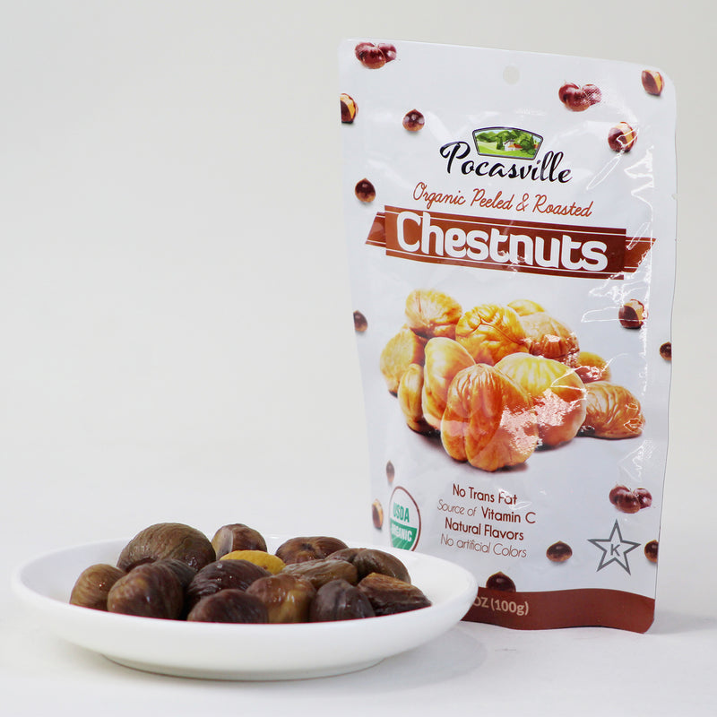 Pocasville Organic Roasted & Peeled Chestnuts (Pack of 6)