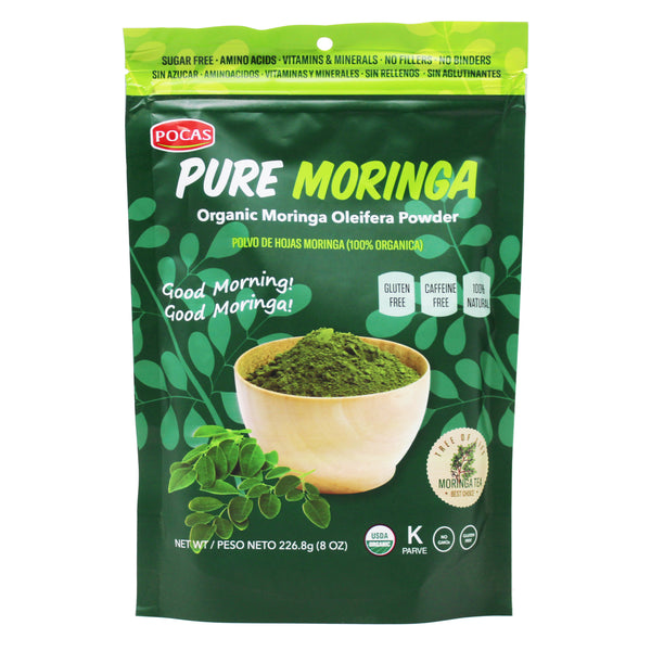 Pocas Organic Moringa Powder 8 Ounce (Pack of 2)