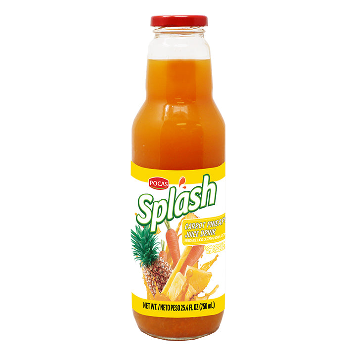 Pocas Splash Carrot Juice 25.4 Fluid Ounce (Pack of 8)