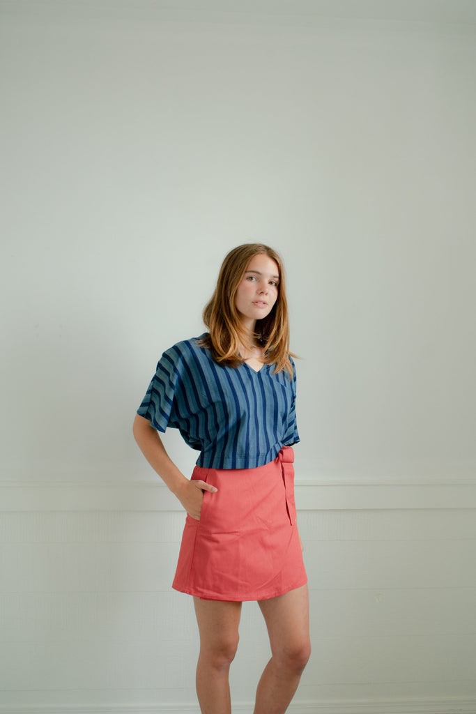 Jayden Wrap Skirt - Pink Twill