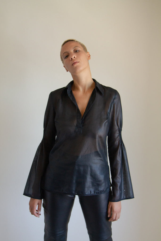 Vintage black sheer ruched flare sleeve top // S