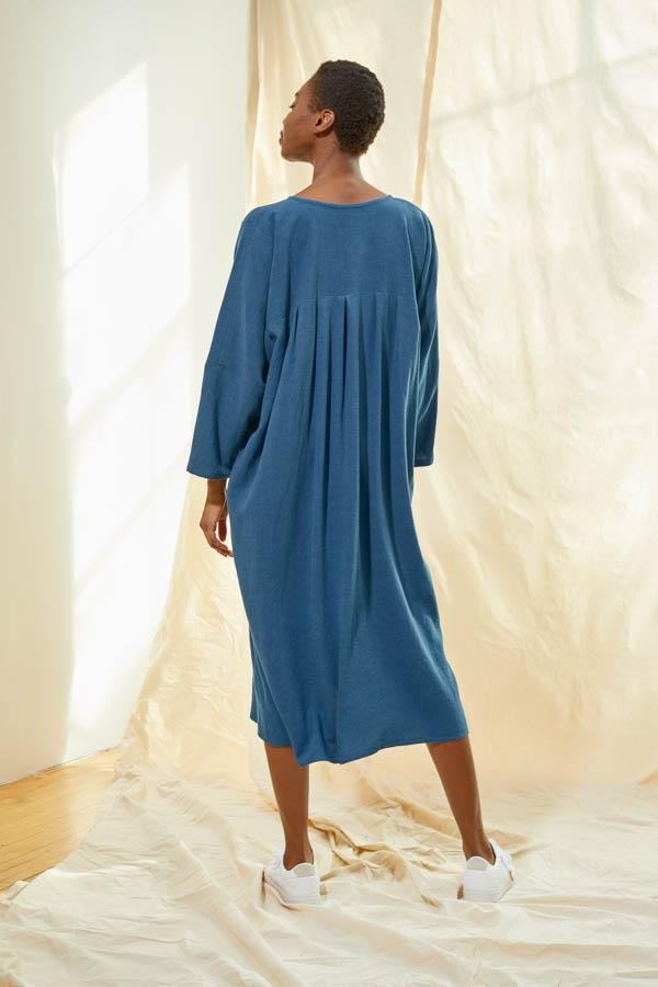 Pleated V-Neck Dress - Aegean Blue