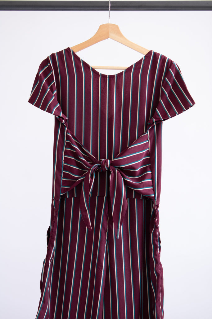 Kate Jumpsuit with Ties - Burgundy Stripe - M