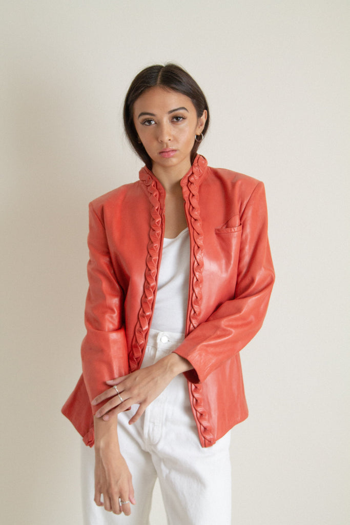 Vintage 80s red coral braided leather jacket // S