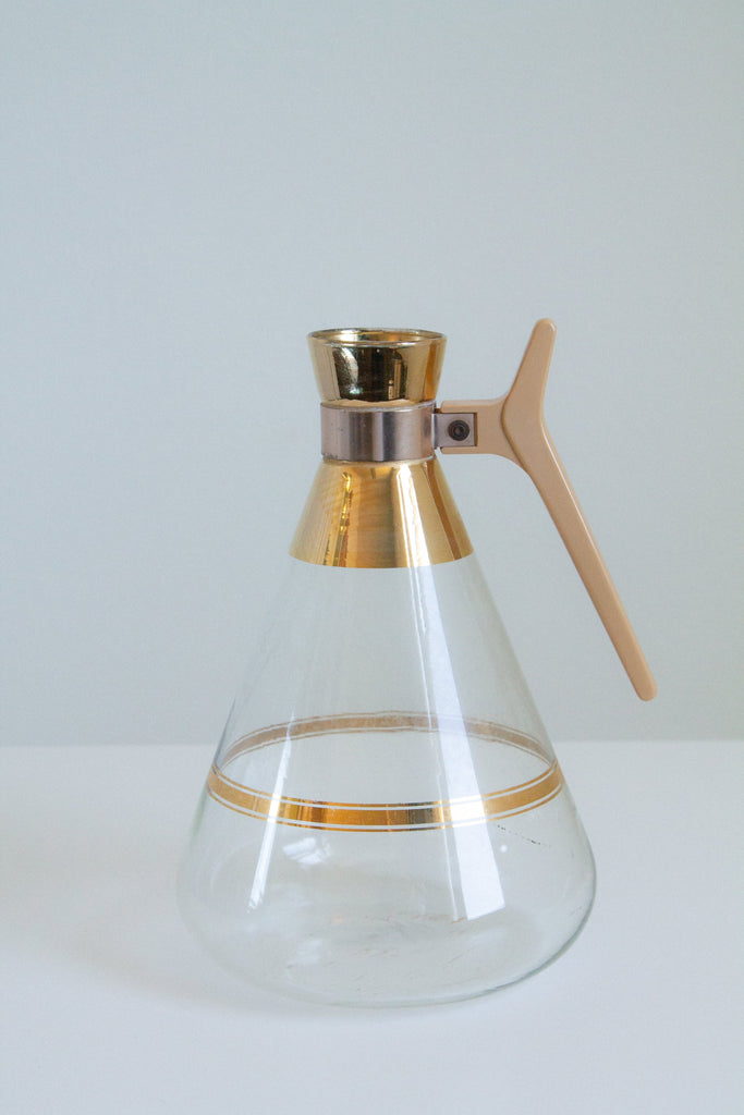 Vintage glass and gold carafe