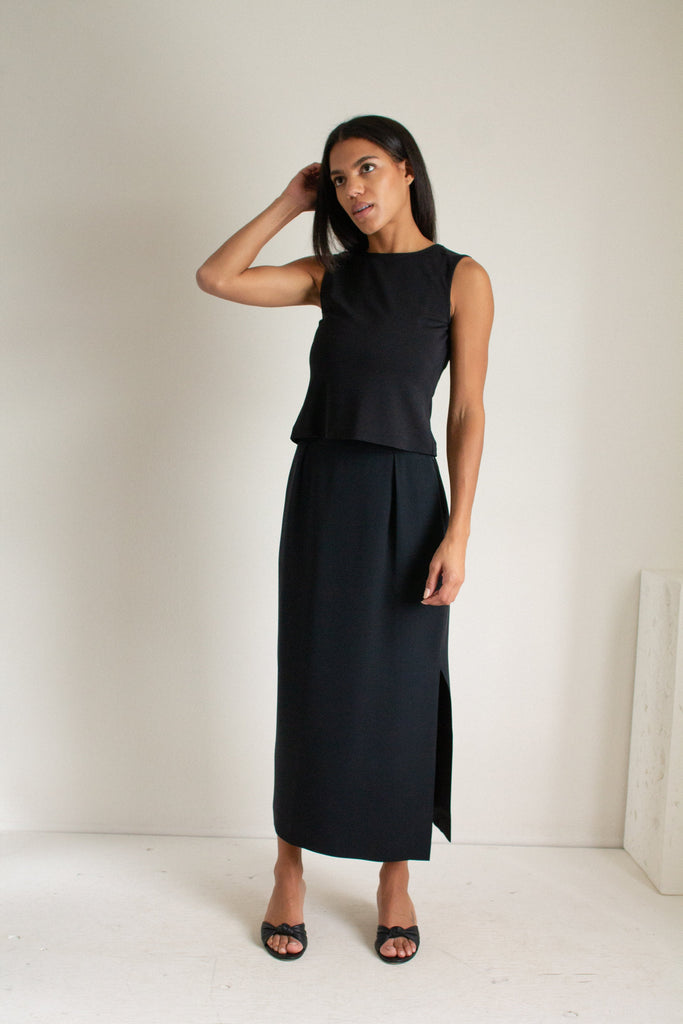 Vintage black silk column skirt // S