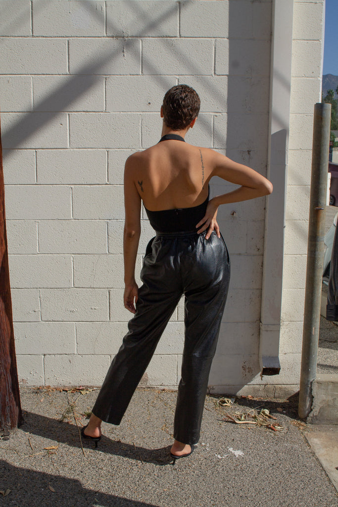 Vintage black leather pleated front pants // M