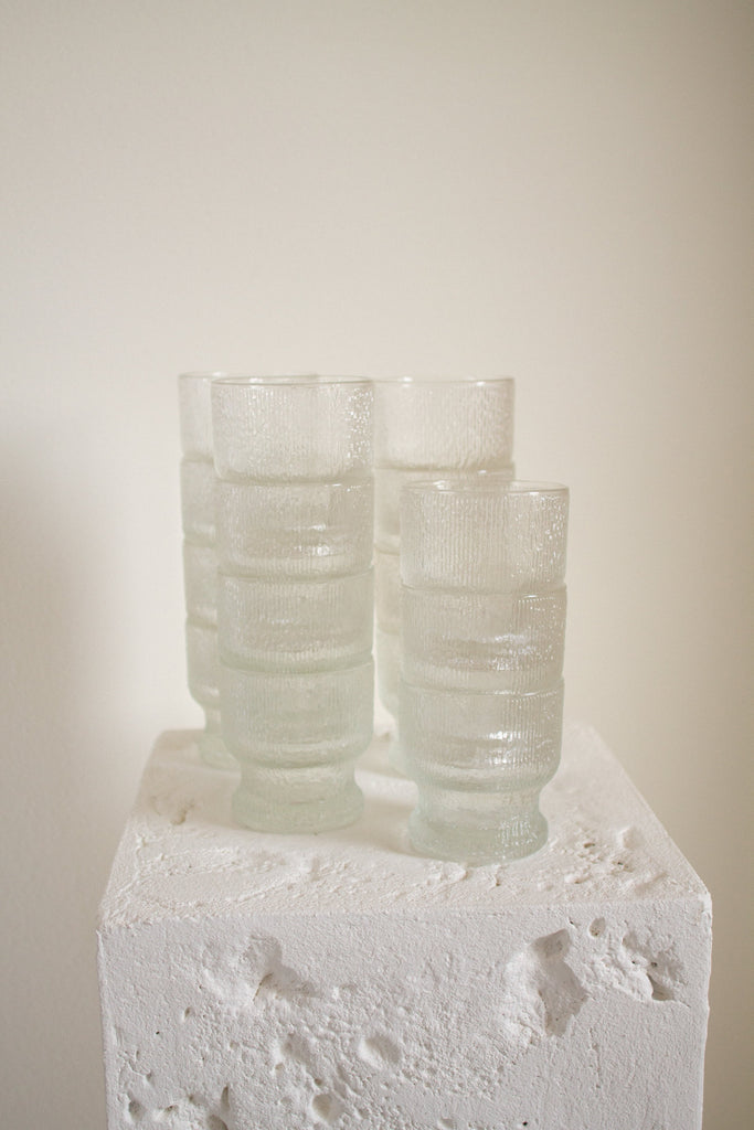"Vintage clear glass textured ""old fashioned"" glassware"