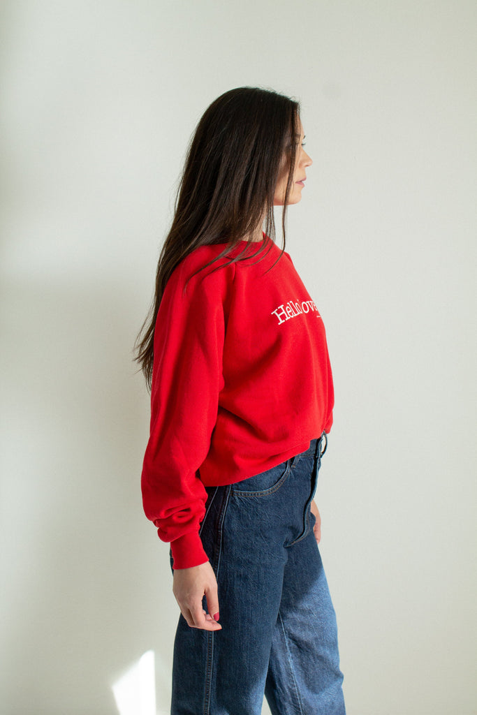 "Vintage red ""Hello Love"" sweatshirt // XL"